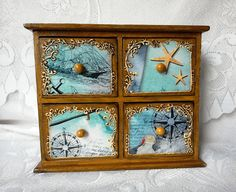 Under The Sea Decoupage Handmade Small Chest Of Drawers