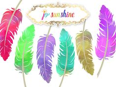 Watercolour Feather Clipart digital download 6 colourful Watercolor Feather, Watercolor Effects, Watercolour, Colorful Feathers, Gold Confetti, Cover Pages, Wedding Cards, Commercial, Web Design