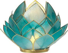 Luna Bazaar Full Bloom Capiz Lotus Candle Holder (4.5-Inch, Turquoise Blue, Gold-Edged) - For Home Decor, Parties, and Wedding Decorations * Details can be found by clicking on the image.
