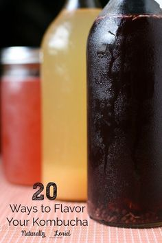 Ditch the soda and make yourself kombucha, a tasty probiotic-rich drink. Need fl… Ditch the soda and make yourself kombucha, a tasty probiotic-rich drink. Need flavor inspiration? Here are 20 of the best ways to flavor your kombucha. Kombucha Flavors, How To Brew Kombucha, Kombucha Tea, Flavored Kombucha Recipe, Kombucha Probiotic, Kombucha Brewing, Homebrewing, Probiotic Foods, Vegetarian Cooking