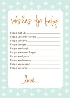 wishes for baby....good idea for baby shower  The mom to be loved this!