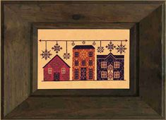 """Brocade Boulevard is a cross stitch pattern of a fancy street lined with brocade houses. Design Size: 175W x 86H Stitched Size: 10.9"""" x 5.4"""" at 16 stitches per inch Threads: DMC (not included) The pattern features only full crosses (no fractional stitches, no backstitching). This listing is for an instantly downloadable printable pattern only. Patterns cannot be returned or refunded."""
