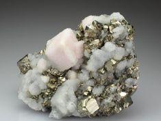 Quartz on Rhodochrosite with Pyrite
