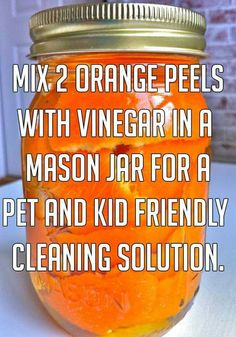 Mix to orange peels with vinegar in a mason jar for a pet and kid friendly…