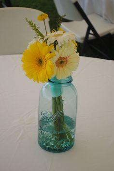 Yellow And Turquoise Wedding | ... Tail: Dustin and Andriana's Wedding - Flowers (Yellow and Turquoise