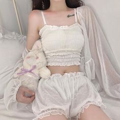Summer home pajamas set Cute Casual Outfits, Pretty Outfits, Girl Outfits, Fashion Outfits, Aesthetic Fashion, Aesthetic Clothes, Kawaii Fashion, Girl Fashion, Mode Lolita