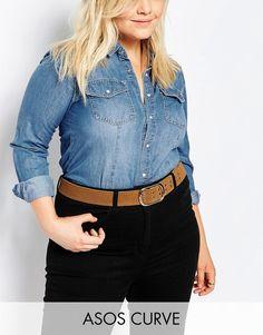 ASOS Curve ASOS CURVE Eyelet Double Prong Suede Jeans Belt