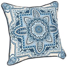 Cassia Blue Medallion Outdoor Pillow ($20) ❤ liked on Polyvore featuring home, outdoors, outdoor decor, outdoor accent pillows, blue outdoor throw pillows, cassia and outdoor patio decor