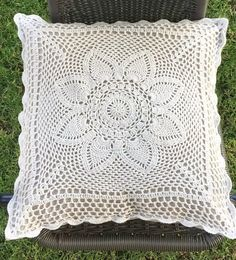Crochet pillow cover, decorative pillow case, rustic home decor, cottage chic throw pillow cover Crochet Pillow Cases, Crochet Cushion Cover, Crochet Pillow Pattern, Crochet Cushions, Crochet Cord, Crochet Lace Edging, Hand Crochet, Couch Pillow Covers, Throw Pillows