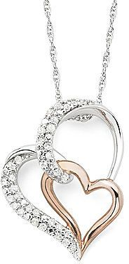 jcpenney FINE JEWELRY 1/4 CT. T.W. Diamond Double-Heart 2-Tone Sterling Pendant Necklace on shopstyle.com