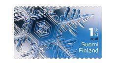 Jääkide-postimerkki on tehty erikoistekniikalla. Ice Crystals, Christmas Images, Stamp Collecting, Helsinki, Postage Stamps, Finland, Paper, Ephemera, Money