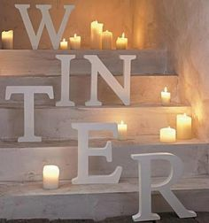 Winter letters kaarsen