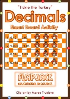 FREE Tickle the Turkey Decimals Smart Board Game - Super fun and engaging!