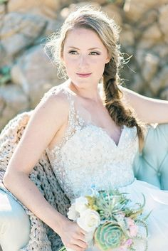 Crystal and Flower Embellished Wedding Dress with a Side Braid | Grace Aston Photography | Swept Away - Mermaid Inspired Wedding on the Coast