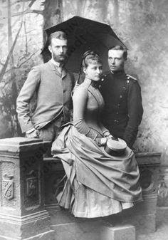Grand Duke Sergei Alexandrovich, Grand Duchess Elizabeth Feodorovna (Ella) and her brother Ernst of Hesse.