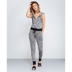 Marled Zip-Front Jogger Jumpsuit With Hood ($33) ❤ liked on Polyvore featuring jumpsuits, grey, gray jumpsuit, jump suit, hooded jumpsuit, jumpsuits & rompers and wet seal