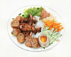 Kết quả hình ảnh cho vietnamese food illustration