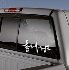Music note car decal heartbeat car sticker
