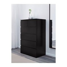 MALM Chest of 6 drawers - black-brown - IKEA