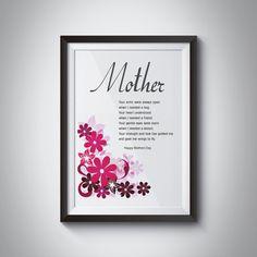 PRINTABLE Happy Mothers Day  Art Print Floral by JKDigitalDesign