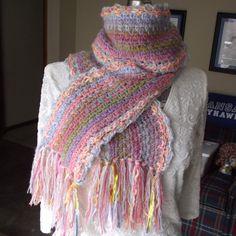 Crochet Wool Scarf Handmade Soft Sunrise Colors by GypsythatIwas, $36.00
