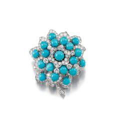 Turquoise and diamond brooch, Flower, Bulgari, 1962 - Sothebys