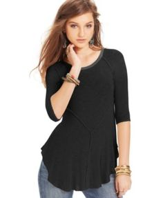 Free People Weekends Three-Quarter-Sleeve Layering Top