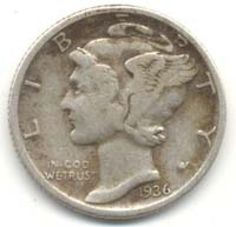 How Old Is Your Mercury Dime?: Mercury Dime in average circulated condition (obverse side)