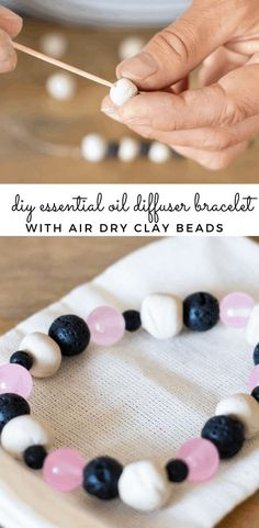 Learn how to make your own essential oil bracelet out of airdry clay, string, and essential oils. Wearing an essential oil bracelet will provide aromatic benefits, along with topical benefits all day long. Get my easy essential oil diffuser bracelet recipe and my favorite essential oil blends. #diffuserbracelet #diydiffuserbracelet #homemadediffuserbeads #claybeads