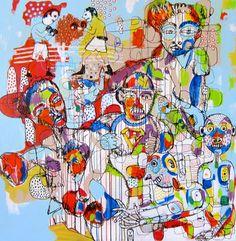 Yosi Messiah Internal Battle - 2015 Mixed media and varnish on canvas 122 x 122 cm 'RED' - Expressionism Group Exhibition at SOFITEL Gold Coast Gold Coast, Expressionism, Battle, Mixed Media, Group, Canvas, Red, Painting, Tela