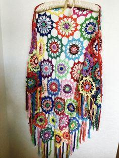 Colourful Crochet Shawl | Boho Gypsy Shawl | Hippie Patchwork | Colorful Gypsy Shawl | Handmade |100 cotton-merserized by fyboutique on Etsy https://www.etsy.com/listing/536651697/colourful-crochet-shawl-boho-gypsy-shawl