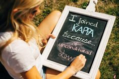 Sorority recruitment: current members could fill out small cards or chalk boards like this and have them placed all over the house as small decorations Alpha Phi Omega, Alpha Omicron Pi, Kappa Kappa Gamma, Kappa Alpha Theta, Kappa Delta, Alpha Chi, Phi Mu, Sorority Poses, Sorority Pr