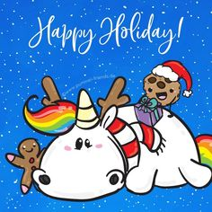 We wish you all nice and relaxing holidays 💜 Enjoy the Christmas days and the time with your families & friends 💕 Info: Pummel, his friends and we will be back in support and for orders from 💜 Holiday Meme, Holiday Wishes, Holiday Quote, Christmas Friends, Christmas Time, Relaxing Holidays, Happy Holidays, Unicorn Memes, Fat Unicorn