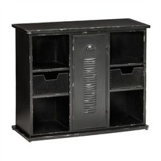 Industrial yet symmetrically elegant, this solidly constructed metal cabinet is the big brother to the smaller piece below and features a similar distressed black finish. New York Loft, Loft Style, Industrial Loft, Home Living, Locker Storage, Basket, Shelves, Furniture, Home Decor