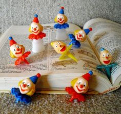 Vintage 70's Clown Cup/Cake Picks/ Toppers Plastic by JUNKMANSGAL