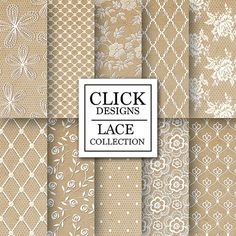 Lace Digital Paper: LACE KRAFT PAPERS scrapbook by ClickDesigns