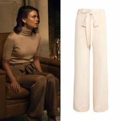 "Cristal Flores wears these Juan Carlos Obando ""Lillian"" silk crepe wide-leg trousers on Dynasty 1x02"
