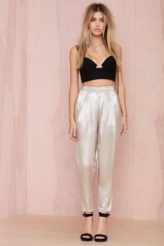 So Slick Pleated Trouser - Gold