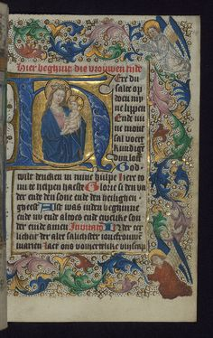 Illuminated Manuscript, Book of Hours in Dutch, Initial H with the Apocalyptic Madonna and Child, Walters Manuscript W.918, fol. 14r
