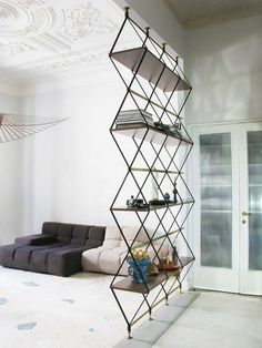 37 Cozy Small Living Room Divider Design Ideas That You Need To Try - When you live in a small house or small apartment, people find that they have a space problem. Small houses and apartments usually consist of a large . Room Divider Shelves, Glass Room Divider, Living Room Divider, Wall Shelving, Shelving Ideas, Living Room Furniture, Living Room Decor, Decorative Room Dividers, Divider Design
