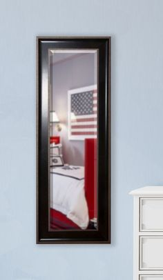 Jovie Jane Black with Silver Caged Trim Full Length Beveled Body Mirror