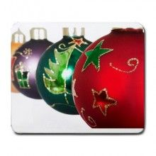 Christmas Ornaments in a Row Large Mousepad