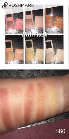 6/$36 Kylighter-Like Illuminators (MyPic&Swatches) In order: Strawberry Shortcake, Cotton Candy Cream, Chocolate Cherry, Salted Carmel, Banana Split, French Vanilla. Arm swatch done with fingers to shows the shade at full color. No need to ask if I have certain colors. I will change how I'm selling when I get low on stock.Just let me know what you want, in a message, when you put in your offer for purchase.  This does have an odor that you can't smell when you put it on.  Immediate purchase…