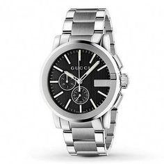0249c5ca387 Gucci G-Chrono Stainless Steel Bracelet Watch Men s Silver