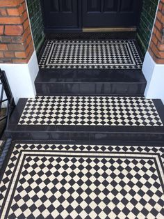 UK supplier of Victorian interior & exterior mosaic floor tiles. Company provides bespoke designs and consultancy for domestic and commercial projects. Victorian Front Garden, Victorian Porch, Edwardian House, Victorian Hallway Tiles, Tiled Hallway, Victorian Flooring, Front Path, Front Door Steps, Porch Steps