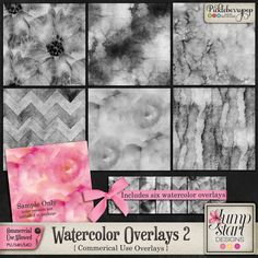 CU ~ Watercolor Overlays 2 By Jumpstart Designs