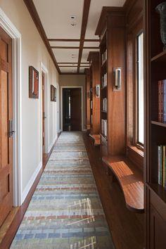 Built in seat, bookcase, 3 panel door