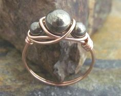 Pyrite Ring  14K Rose Gold Filled Natural by MiscAndMiscellany, $16.99