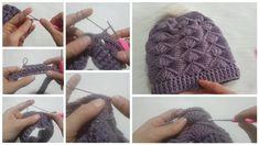Deniz Kabuğu Modelinden Bere Yapımı Knitted Hats, Crochet Hats, Winter Hats, Knitting, Fashion, Tejidos, Knitting Hats, Moda, Tricot
