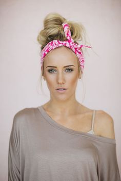 Dolly Bow Pink Tie Up Headscarf Headband Bandana Hair Accessory Boho Head Wrap Pink Medallion Pattern (HB-94)